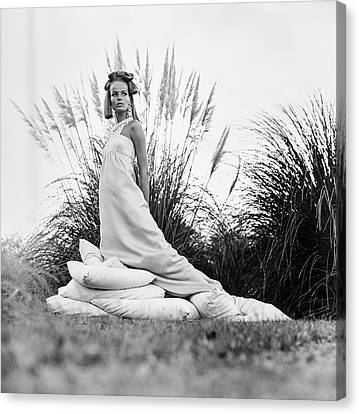 Veruschka Wearing A Castillo Dress Canvas Print