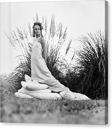 Veruschka Wearing A Castillo Dress Canvas Print by Franco Rubartelli