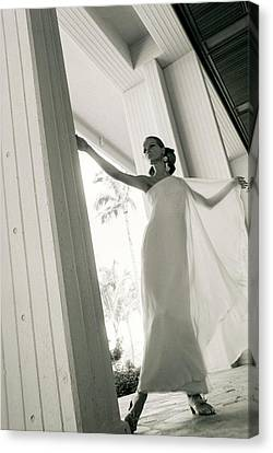 Veruschka Wearing A Stern & Stern Dress Canvas Print by Franco Rubartelli