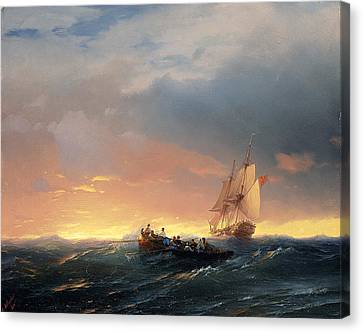 Vessels In A Swell At Sunset Canvas Print by Ivan Konstantinovich Aivazovsky
