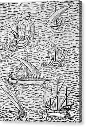 Vessels Of Early Spanish Navigators From The Narrative And Critical History Of American Canvas Print by English School