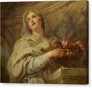 Vestal Virgin Canvas Print by Francois Lemoyne