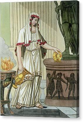 Vestal Virgin, Illustration Canvas Print by Jacques Grasset de Saint-Sauveur