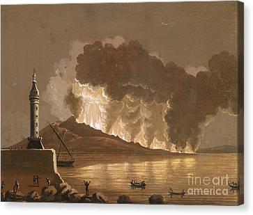 Vesuvius Erupting, June 1794 Canvas Print by British Library