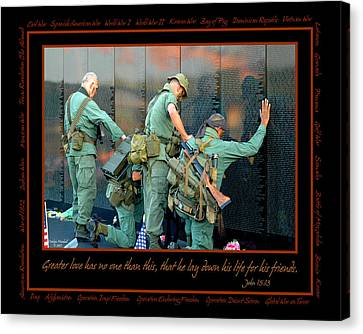 Touching Canvas Print - Veterans At Vietnam Wall by Carolyn Marshall
