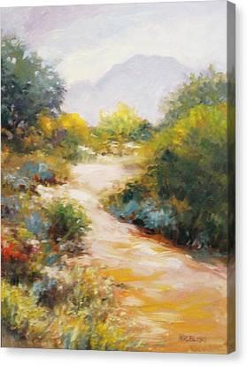 Veterans Park Pathway Canvas Print by Peggy Wrobleski