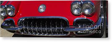 Red Chev Canvas Print - Vets Lights And Grill by Steven Parker