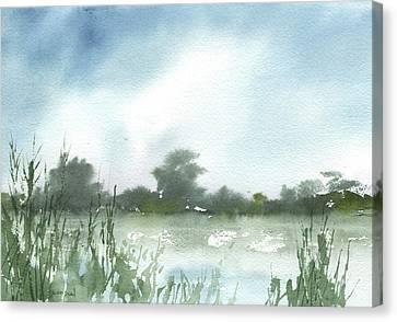 Canvas Print featuring the painting Vets Park Plein Air 7-17-13 by Sean Seal
