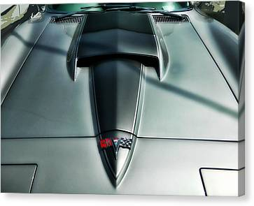 Canvas Print featuring the photograph Vette Hood by Victor Montgomery