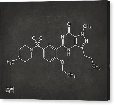 Viagra Molecular Structure Gray Canvas Print by Nikki Marie Smith