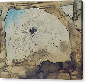 Vianden Through A Spider's Web Canvas Print