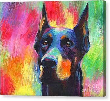 Vibrant Doberman Pincher Dog Painting Canvas Print