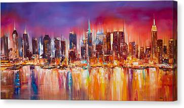 Times Square Canvas Print - Vibrant New York City Skyline by Manit