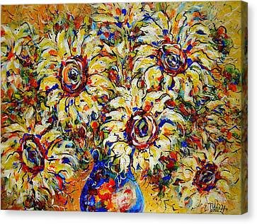 Canvas Print featuring the painting Vibrant Sunflower Essence by Natalie Holland