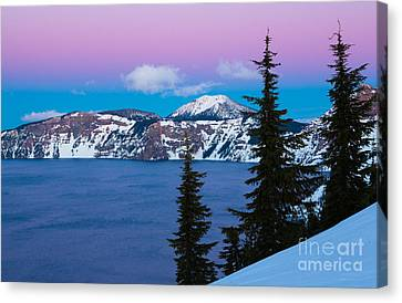 Wizard Island Canvas Print - Vibrant Winter Sky by Inge Johnsson