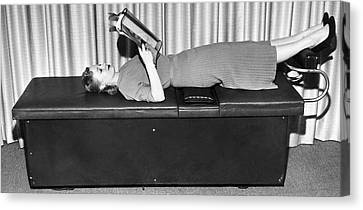 Healthy-lifestyle Canvas Print - Vibrating Weight Loss Machine by Underwood Archives