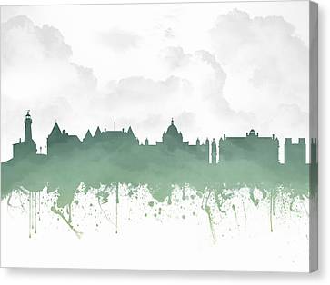 Victoria British Columbia Skyline - Green 03 Canvas Print