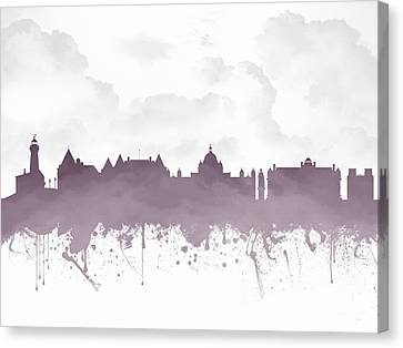 British Columbia Canvas Print - Victoria British Columbia Skyline - Purple 03 by Aged Pixel
