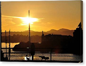 Canvas Print featuring the digital art Victoria Harbor Sunset 1 by Kirt Tisdale