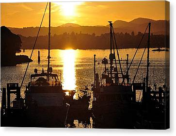 Canvas Print featuring the digital art Victoria Harbor Sunset 2 by Kirt Tisdale