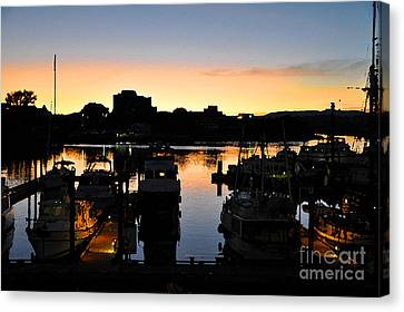 Canvas Print featuring the digital art Victoria Harbor Sunset 3 by Kirt Tisdale