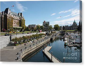 Victoria Harbour With Empress Hotel Canvas Print by Carol Groenen