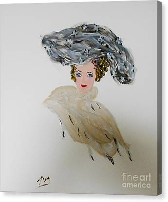 Lady's Extreme Hats From The 1800's Canvas Print by Marie Bulger