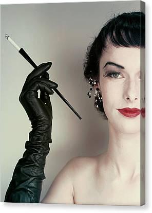Victoria Von Hagen Holding A Cigarette Holder Canvas Print