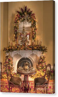 Victorian Christmas By The Fire Canvas Print by Margie Hurwich