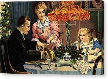 Victorian Christmas Family  Meal Vintage Poster. Canvas Print