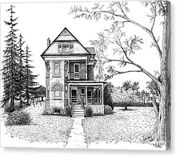 Victorian Farmhouse Pen And Ink Canvas Print by Renee Forth-Fukumoto