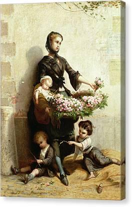 Victorian Flower Seller Canvas Print by Leopold de Moulignon