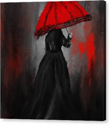 Victorian Lady With Parasol Canvas Print by Lourry Legarde