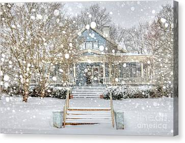 Victorian Snow Fall Canvas Print by Benanne Stiens