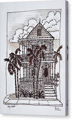 Victorian Style 'conch House' With Palm Canvas Print