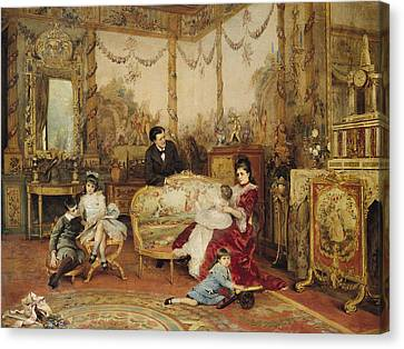 Victorien Sardou And His Family In Their Drawing Room Canvas Print by Auguste de la Brely
