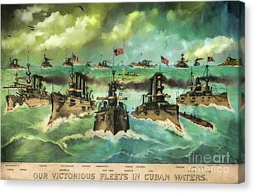 Victorious Navy - 1898 Canvas Print by Lianne Schneider