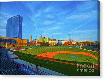 Minor League Canvas Print - Victory Field 1 by David Haskett