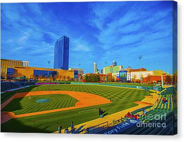 Minor League Canvas Print - Victory Field 2 by David Haskett