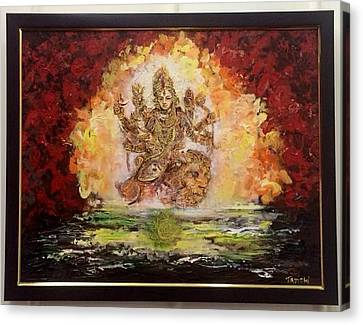 Goddess Durga Canvas Print - Victory. Strength. Magnificence. by Tavishi Kanoria