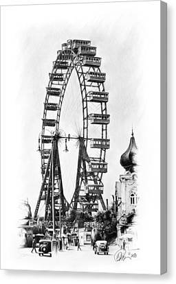 Vienna Ferris Wheel Canvas Print by Mario Pichler