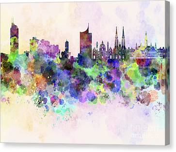 Vienna Skyline In Watercolor Background Canvas Print by Pablo Romero