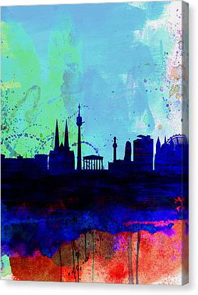 Vienna Watercolor Skyline Canvas Print