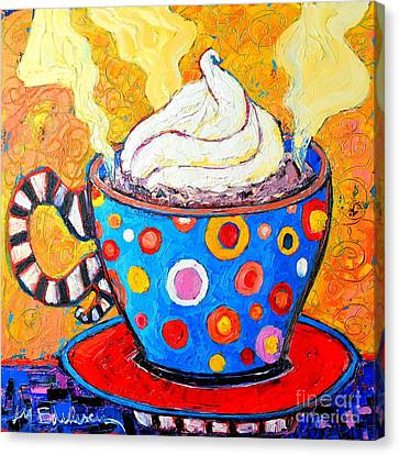 Black And Yellow Canvas Print - Viennese Cappuccino Whimsical Colorful Coffee Cup by Ana Maria Edulescu