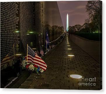 Vietnam Veterans Memorial At Night Canvas Print