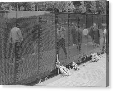 Vietnam Wall Reflections Bw Canvas Print by Joann Renner