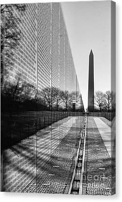 Canvas Print featuring the photograph Vietnam War Memorial Washington Dc by John S