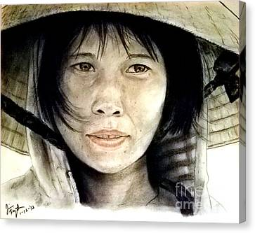 Canvas Print featuring the pastel Vietnamese Woman Wearing A Conical Hat by Jim Fitzpatrick