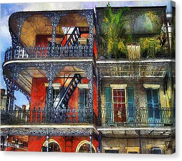 Canvas Print featuring the photograph Vieux Carre' Balconies by Tammy Wetzel