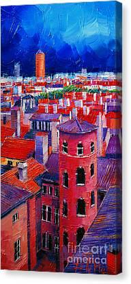 Vieux Lyon Rooftops  Canvas Print by Mona Edulesco